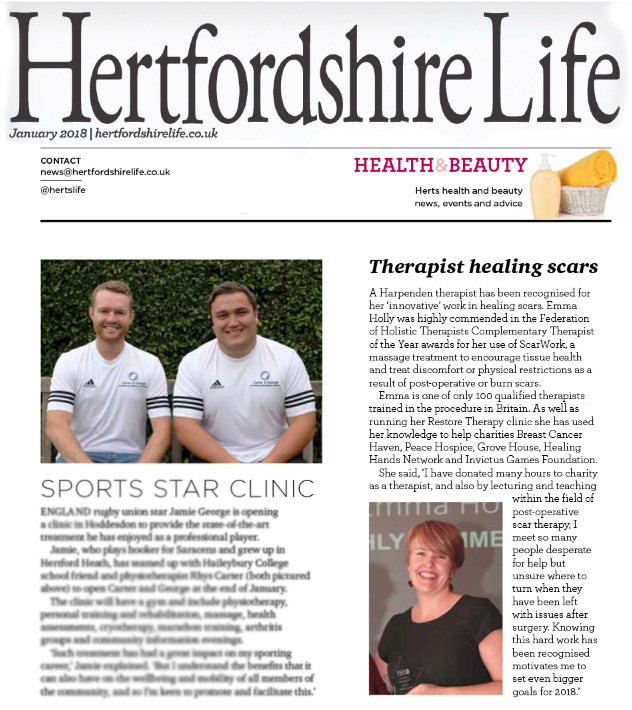 Feature on FHT Award in Hertfordshire Life Magazine. Jan 2018